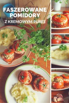 Przepis na faszerowane pomidory i kremowe puree Chana Masala, Ethnic Recipes, Food, Essen, Meals, Yemek, Eten