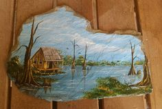 Hand painted slate with a bayou scene by JosLagniappe on Etsy