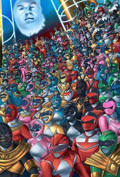 Todos os Power Rangers reunidos - http://desmorto.com/todos-os-power-rangers/