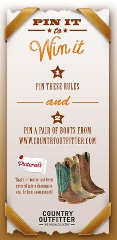 Country Outfitter Pin It to Win It! I need some new boots for my wedding! Country Outfitter Boots, Country Girls, Country Life, Country Living, Thats The Way, My Horse, Cowgirl Boots, Western Wear, Couture