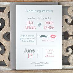 Wedding Invitations / Wedding Invitation - Lips and Mustache Theme. $4.00, via Etsy.