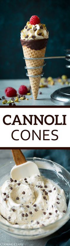 Cannoli Cones - AKA the lazy shortcut cannoli! Sugar cones are filled with a rich and fluffy homemade cannoli cream filling and little bites of decadent chocolate chips. A treat people of all ages will love! #cannoli #dessert #birthday #recipe