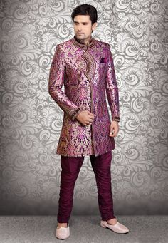 Buy Zardosi Embroidered Silk Brocade Sherwani in Violet and Golden online, work: Embroidered, color: Gold / Violet, usage: Wedding, category: Mens Wear, fabric: Art Silk, price: $446.60, item code: MHG277, gender: women, brand: Utsav