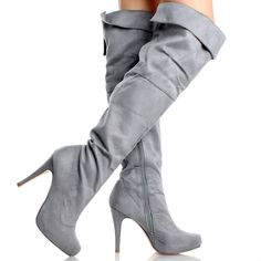 Womens Gray Suede Boots