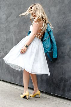 yellow shoes, white dress with full skirt, open back, blue leather jacket