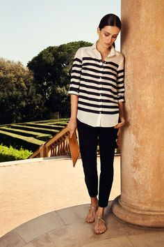Stripped white blouse and black pants Massimo Dutti