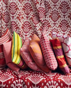 pattern on pattern - pillows #red #pink #ikat #stripes