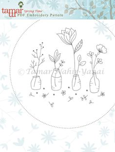 Welcome to my shop. This listing is for a PDF Download of the Embroidery Pattern: Spring Time  Included in the PDF file: Black and white image of the embroidery pattern. Color image of the embroidery design with a DMC thread color guide.  The PDF is designed to be printed on an A4 paper. You can trace the pattern on your fabric with an air soluble marker and a window/light table. -------------------------  How do I download a digital item I purchased? After purchasing a digital file, you'll…