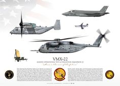 """MARINE OPERATIONAL TEST & EVALUATION SQUADRON XXII (VMX-22) """"The Argonauts""""F-35B, CH-53E, CH-53K, MV-22B, RQ-21, G/ATOR radar Attack Helicopter, Military Helicopter, Military Aircraft, Modern Fighter Jets, Us Navy Aircraft, Airplane Design, Us Marine Corps, Army Vehicles, Military Diorama"""