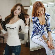 Sexy NEW Fashion Women's Long Sleeve Stripe Casual Tops T-shirt Blouse S M L