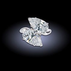 toi et moi pearshape diamond ring with carats i u0026 carats h diamonds