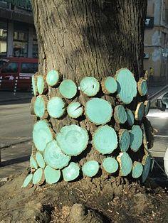 A tree with four wood bracelets