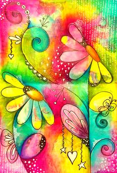 Lifebook lesson - seeds of love double art journal page spread