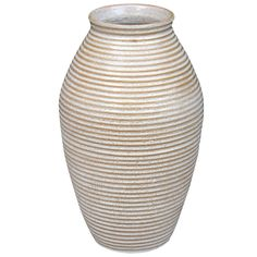 Huge Zanesville  Homespun Norwalk Ring Rib Ware Art Pottery Vase   From a unique collection of antique and modern vases and vessels at https://www.1stdibs.com/furniture/decorative-objects/vases-vessels/