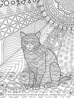 coloring page printable tabby cat zendoodle