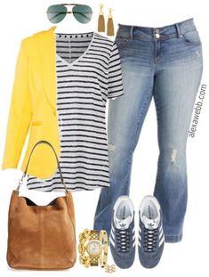 Plus Size Yellow Blazer Outfit - Plus Size Fashion for Women - alexawebb.com #alexawebb #plussizefashion,