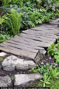 garden pathway from old reclaimed timber, rocks and stones