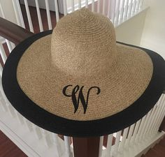 c66c87391ae Excited to share this item from my shop  Floppy Beach Hat Custom  Embroidered - Monogram Summer Hat - Bridesmaid Gifts - Honeymoon Gift -  Wide Brim Straw ...