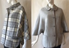 Midcentury Welsch cape / jacket, reversible, gray and cream plaid on one side, solid gray the other, OSFM by afterglowvintage on Etsy