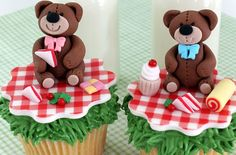 an option for a big cake Picnic Birthday, Birthday Board, 1st Birthday Parties, 3rd Birthday, Birthday Ideas, Teddy Bear Cupcakes, Teddy Beer, Office Baby Showers, Clay Bear