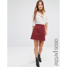ASOS PETITE Denim A Line Skirt in Oxblood (40 AUD) ❤ liked on Polyvore featuring skirts, mini skirts, petite, red, short skirts, high-waist skirt, mini skirt, red skirt and high waisted denim skirt