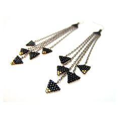 Triangolo nero orecchini orecchini perline neri nero