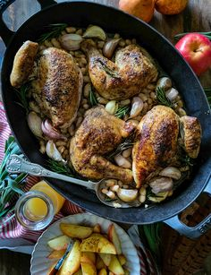 Perfectly seared and braised chicken with white beans, plenty of garlic and apple cider, and finished with seared apple slices. Pure autumn comfort food! Roast Chicken, Paella, Poultry, Main Dishes, Garlic, Beans, Apple, Ethnic Recipes, Food
