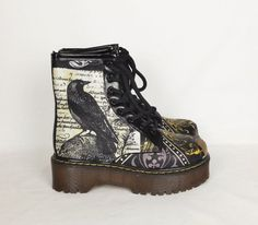 Gothic boots custom boots goth shoes steampunk shoes crow
