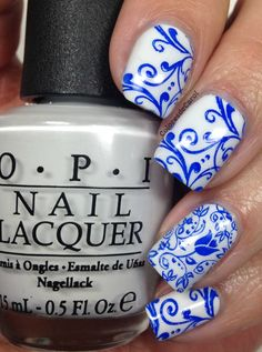 Stamping with Mundo de Uñas Polishes ~ OPI 'My Boyfriend Scales Walls' stamped with Mundo de Uñas Stamping Polish No. 30 Neon Blue using the plates BM306 and BM314 from Bundle Monster. ~ by Colores de Carol