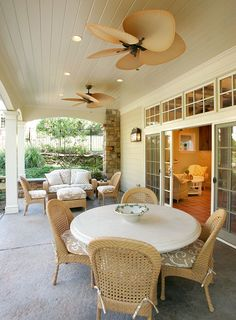 tropical ceiling fans Patio Traditional with beautiful pools chair caning Ceiling Fan In Kitchen, Living Room Ceiling Fan, Home Ceiling, French Doors Patio, Patio Doors, French Patio, Lights Over Dining Table, Pool House Interiors, Tropical Ceiling Fans