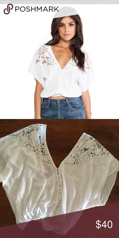 Tiare Hawaii Lace Panel Plumeria blouse Beautiful white crop top with lace detail on shoulders. Worn once, too small for me now. No trades please Tiare Hawaii Tops Blouses