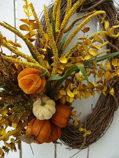 Elegant Fall Wreaths, Autumn Wreaths, Wreath Fall, Hydrangea Wreath, Sunflower Wreaths, Grapevine Wreath, Indoor Wreath, Faux Pumpkins, Eucalyptus Wreath