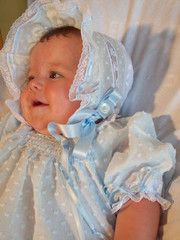 Kaitlyn Collection Dotted Swiss Blue Baby Bonnet - Baby Bonnets - Roses And Teacups  - 1