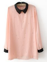 Pink Contrast Collar Long Sleeve Beading Blouse $23.55 #SheInside