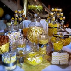 candy buffet for wedding reception | Yellow candy buffet for my reception | My Wedding :)