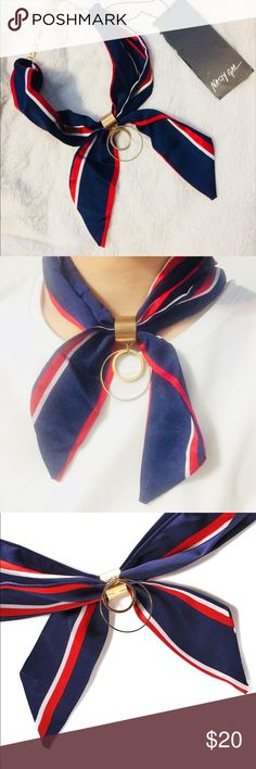 Nasty Gal Roll With It Neck Tie Tricolor stripe of navy, red, white. Satin scarf necklace with circle detail. It was only hanged in my jewelry stand so I am going to let it go. Nasty Gal Jewelry Necklaces