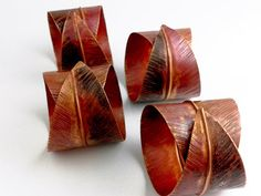 Curled Leaf Napkin Rings - Custom Made to Order - Fold Formed Metal Silverware Accent Pieces - Table Top House Warming - Napkin Holder on Etsy, $20.00