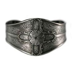 Gun metal silver looks great on anyone's wrists. - Montana Silversmiths Gun Metal Cross Cuff Bracelet at Boot Barn.