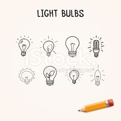 Vector set of Hand-drawn light bulbs, doodle icons royalty-free stock vector art