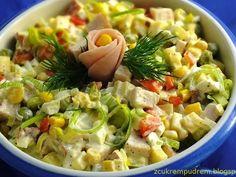 sałatka z porem na bogato Food Dishes, Side Dishes, Scd Diet, Tortellini, Kraut, Pasta Salad, Potato Salad, Brunch, Food And Drink