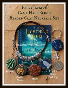 Camp Half Blood Necklace Set with Reversible Polymer Clay Beads Unisex Inspired by Percy Jackson Greek Mythology Heroes of Olympus