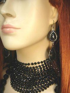 BLack Flapper necklace set 8 strand black beads with shoulder duster...