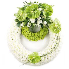 Double white and lime funeral wreath – Floral arrangements – Wreaths Creative Flower Arrangements, Funeral Flower Arrangements, Funeral Flowers, Arte Floral, Deco Floral, Casket Flowers, Funeral Sprays, Funeral Tributes, Diy Spring Wreath