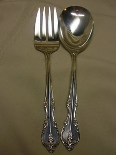 Vtg Silver Plate Rogers & Brother IS Berry Spoon and Serving Fork Flower Design #RogersBrother