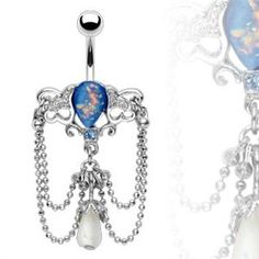 Vintage Antique Style Chain Dangle Chandelier with Pear Shape Synthetic Blue Opal Belly Button Navel Ring