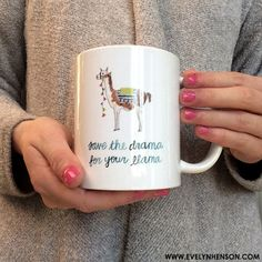Llama Drama Mug by Evelyn Henson. So many cute mugs on this site