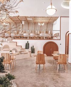 Love the simplicity and neutral colour palette of this restaurant in Jakarta. Simple and chic. Coffee Shop Design, Cafe Design, Store Design, Coffee Shop Interior Design, Design Design, Design Bar Restaurant, Deco Restaurant, Modern Restaurant, Restaurant Interior Design