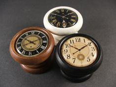 Handmade Clock Face Decorative Door Knobs, Pulls, Handles in Wood for Cabinet Doors, Furniture Drawers (Price is for 1 Knob)