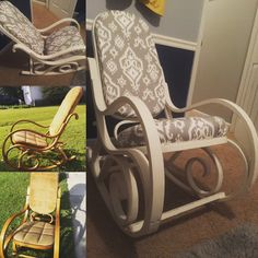 Bentwood rocking chair before and after. Perfect for a nursery!!!!   $15 chair  $20 fabric (duck fabric) $4 Fabric glue  $10 Foam for cushions  Left over antique white chalk paint & wax    I LOVE how this turned out.