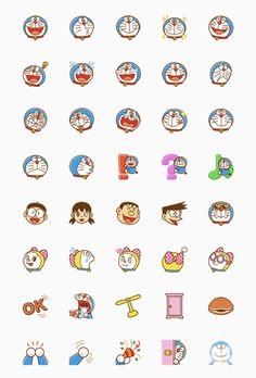 Doraemon Emoji Set Disney Character Drawings, Disney Drawings, Cute Drawings, Journal Stickers, Scrapbook Stickers, Planner Stickers, Doraemon Wallpapers, Cute Cartoon Wallpapers, Cartoon Stickers